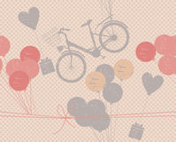 Holiday pattern with retro bicycle, balloons and gifts Stock Photography