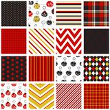 Holiday Patterns in Red, Black & Gold Royalty Free Stock Photos