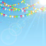 Holiday pennants on sky background Stock Images