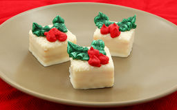 Holiday Petit Fours Set On Plate Stock Photos