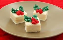 Holiday Petit Fours Set On Plate. Holiday Petit Fours Set On Green Plate Stock Photos