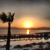 Holiday picture in Turkey. Picture of the sea and pool at the hotel in Turkey Royalty Free Stock Image