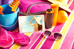 Holiday pictures on tablet Royalty Free Stock Images