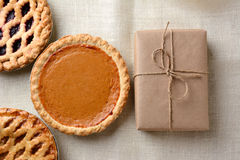 Holiday Pies and Parcel Stock Image