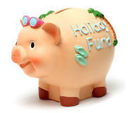 Holiday Piggy Bank. Holiday theme piggy bank on white background Royalty Free Stock Photography