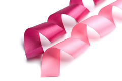 Holiday pink ribbons isolated. On white Royalty Free Stock Images