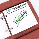 Holiday On Planner Shows Vacation Date Booked Royalty Free Stock Photography