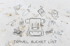 Holiday planning, backpack & travel icons Royalty Free Stock Image