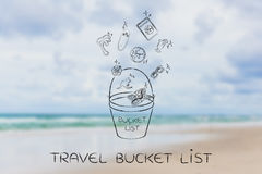 Holiday planning, bucket list & travel icons vector illustration