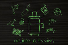 Holiday planning, luggage & travel icons Stock Photography
