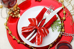 Holiday plates with silverware Royalty Free Stock Photography