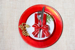 Holiday plates with silverware Stock Photo