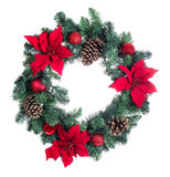 Holiday Poinsettia Christmas wreath isolated on white background stock images