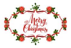 Holiday Poinsettia frame Royalty Free Stock Photo