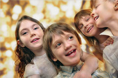 Holiday portrait of happy children  Royalty Free Stock Image