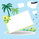 Holiday postcard. Abstract holiday postcard with palm trees, flowers, butterflies and a plane flying above in the skies Royalty Free Stock Images