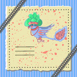 Holiday postcard with a fabulous bird. Holiday card with a fabulous bird. In blue tones Royalty Free Stock Image