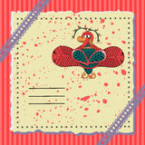 Holiday postcard with a fabulous bird. Holiday card with a fabulous bird. Red tones Royalty Free Stock Photography