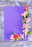 Holiday Postcard with Flowers Royalty Free Stock Photography