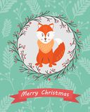 Holiday postcard with funny fox Stock Photos