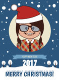 Holiday postcard. Merry Christmas and Happy New Year 2017 card. Template of holiday card. Merry Christmas and Happy New Year 2017 card Stock Image
