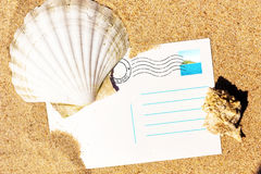 Holiday postcard at the sandy beach Royalty Free Stock Image