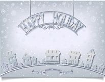 Holiday postcard with silver signboard greeting Royalty Free Stock Photos