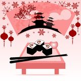 Holiday postcard to the Chinese New Year 2015. Greeting postcard with fan, rolls and chinese sticks to the Chinese New Year 2015. Vector illustration Royalty Free Stock Photos