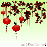 Holiday postcard to Chinese New Year. Greeting postcard to Chinese New Year. Red sky lanterns on sakura branch with flowers on pale green background. Vector Royalty Free Stock Photography