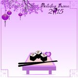 Holiday postcard to the Chinese New Year 2015. Greeting postcard with rolls and chinese sticks to the Chinese New Year 2015. Holiday menu. Violet tone. Vector Royalty Free Stock Photography