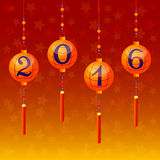 Holiday postcard to Chinese New Year 2016. Greeting postcard with sky lanterns and 2016 inside them to Chinese New Year. Vector illustration Stock Image
