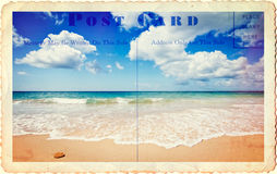 Holiday Postcard. Vintage style postcard of summer beach Stock Photos