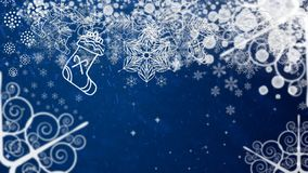 Holiday postcard. Xmas frame snowflakes decorations on a dark blue background. Ready Christmas background for your text.  royalty free illustration