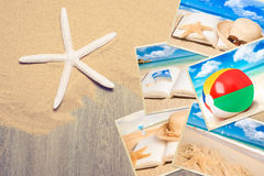 Holiday Postcards. In the sand with starfish Stock Images