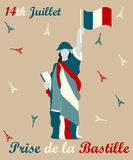 Holiday poster with the Eiffel towers and woman for Bastille day Royalty Free Stock Photo