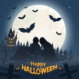 Holiday poster for Halloween. Ghosts in cloaks in the cemetery next to the castle. Bats, the moon. Vector illustration royalty free illustration