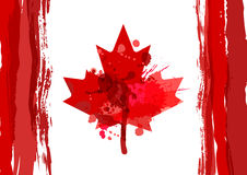 Holiday poster with hand drawn watercolor Canada maple leaf. Hap Royalty Free Stock Photo