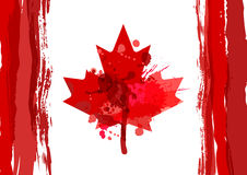 Holiday poster with hand drawn watercolor Canada maple leaf. Happy Canada Day watercolor horizontal background. Royalty Free Stock Photos