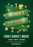 Holiday poster to celebrate St. Patrick`s Day. Green tape with inscription: Patrick`s Day Party and gold clover leaves. Design concept advertising, invitation Stock Photos