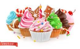holiday Postre dulce Torta, magdalena vector 3d ilustración del vector
