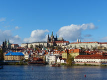 View of Prague Castle and the City in the Morning Stock Photos