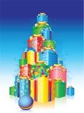 Holiday present. New Year holiday present pyramid Stock Photo