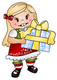 Holiday Present. Illustration of a young girl holding a present for the holidays royalty free illustration