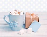 Holiday present box & mug tag polka background. Royalty Free Stock Image