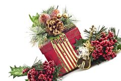 Holiday Present with Decorations Royalty Free Stock Photos