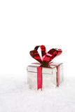 Holiday Present in Snow With Copy Space Royalty Free Stock Photo