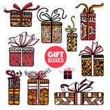Holiday presents boxes set color doodle Royalty Free Stock Photo