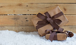 Holiday Presents on Snow Royalty Free Stock Photo