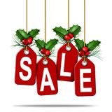 Holiday Price Tag Sale. As a christmas sales retail promotion concept as a boxing day or new year special discount symbol as a 3D illustration Stock Images