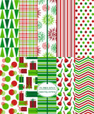 Christmas Scrapbook Paper. Seamless Background Patterns - Festive Holiday Patterns for Christmas Stock Image